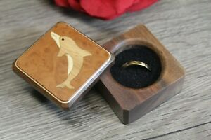 Dolphin gifts Square Ring Box Beach Proposal Box Lined Cherry Wood Box with Hinged lid Beach Theme Wedding Ring Box Wood Dolphin couple