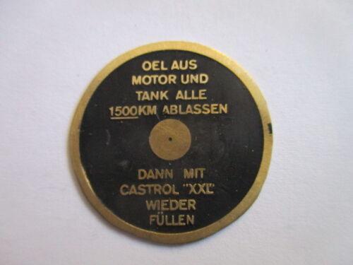 Typenschild Oldtimer Schild DKW Motoröl Castrol XXLTaler Messing plakette S38
