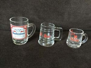 Set-of-3-Vintage-Budweiser-and-Coors-Beer-Mini-Mugs-tankards-Shot-Glasses