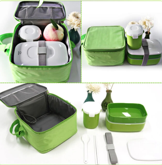 Japanese Bento Lunch Box Set with Water Soup Mug Insulated Lunch Tote Bag Girls