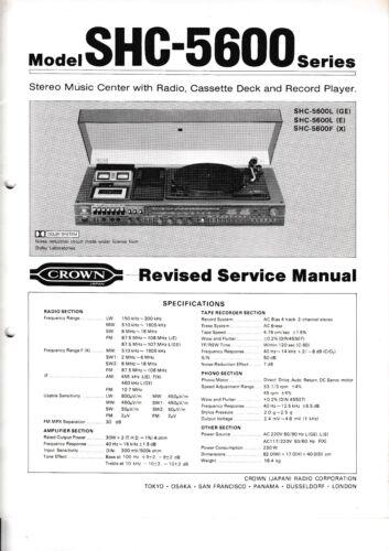 Service Manual-Anleitung für Crown SHC-5600