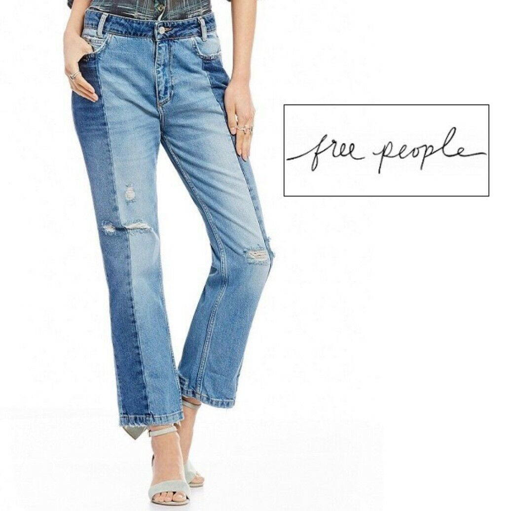NWT free people, Size 28, Women's Jeans, patchwork two toned distressed women's