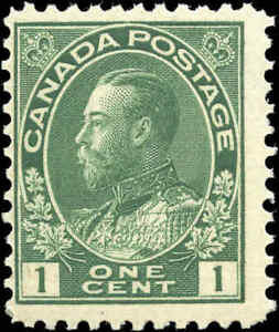 Canada-Mint-NH-1911-F-Scott-104-1c-Admiral-King-George-V-Stamp-Issue