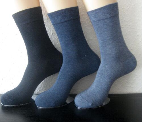 3 Paar Damen Socken ohne Gummi extra weicher Soft Bund 3 Blautöne 35 bis 42