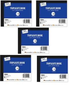 5x Carbon Sheet Paper Receipt Triplicate Blank Ruled Book Numbered Pages 1-50 2