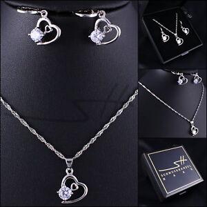 Set-Halsette-Ohrhaenger-Diamant-Herz-Weissgold-pl-Swarovski-Elements-Etui