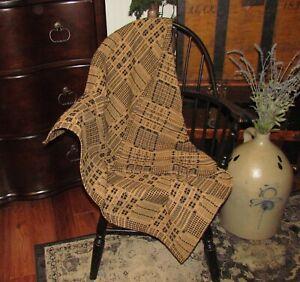 Prim-Antique-Vtg-Style-Crestwood-Blk-Mustard-Cotton-32-034-COVERLET-Square-RQ15BSS