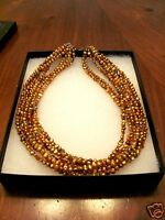 'silpada' Gold Copper Freshwater Pearls 8 Strand Necklace Sterling Clasp