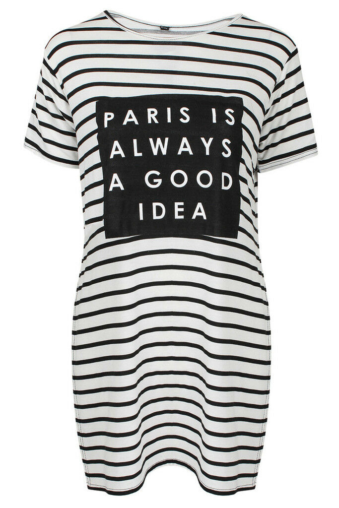 Ladies Womens Paris Is Always A Good Idea Striped Long line Split Side T-Shirt