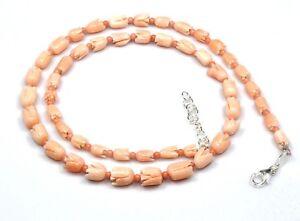 Natuerliche-Korallen-Tulpe-Geschnitzt-Halsketten-925-Sterlingsilber-18-034-Edelstein
