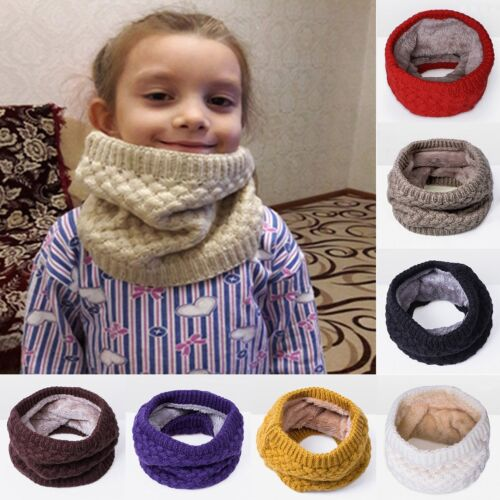 Kids Unisex Girls Boys Winter Fleece Lined Warm Scarf Toddler Neck Loop Warmer