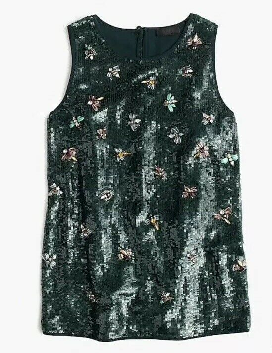 NWOT J CREW COLLECTION SEQUIN FIREFLY SHELL TOP SZ 2   IN Grün