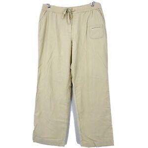 J-Jill-Womens-Size-16-Beige-Corduroy-Pants-Wide-Leg-Drawstring-Solid-Stretch