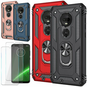 For Motorola Moto G7 Plus Play Stand Case Cover Tempered Glass Screen Protector