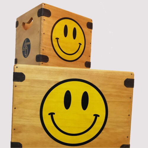 """Acide SMILEY Record Box Large 12/"""" albums Handcrafted Vinyle Crate"""