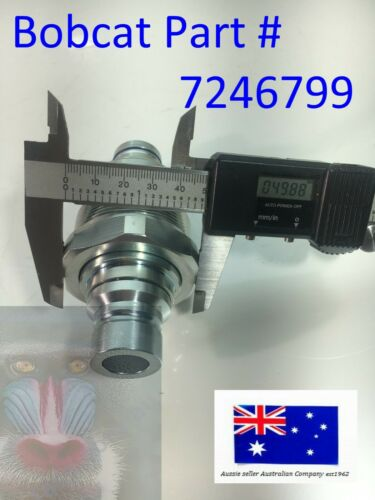 "Bobcat Hydraulic Male Flat Face Quick Coupler 7246799 48mm 1 7//8/"" thread"