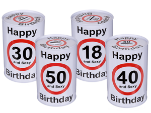 Happy-Birthday-18-30-40-50-Metall-Spardose-Geburtstag-Sparbuechse-and-sexy-neu
