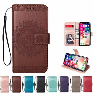Womens Flip Magnetic Wallet Case Floral Print Cover For iPhone X 5 ... ea76b712c