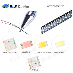 100pcs 1206 3216 Green Light SMD Pre-Wired LED Diodes Soldered 20cm Length Lamp