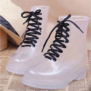 Women-Clear-Jelly-Rain-Boots-Lace-Low-Ankle-Flat-Rubber-Wellies-Rainshoes-Bright