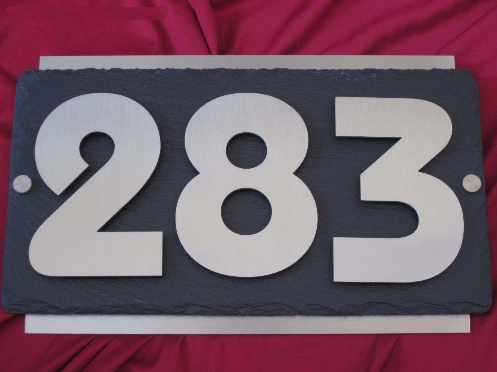 Exklusive Hausnummer aus Edelstahl und Schiefer 3D 3D 3D Hausnummernschild bc62b2