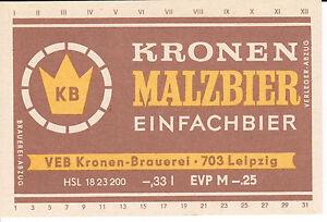 1 Bieretikett Leipzig Kronenbräu , Malzbier, DDR - Leipzig, Deutschland - 1 Bieretikett Leipzig Kronenbräu , Malzbier, DDR - Leipzig, Deutschland