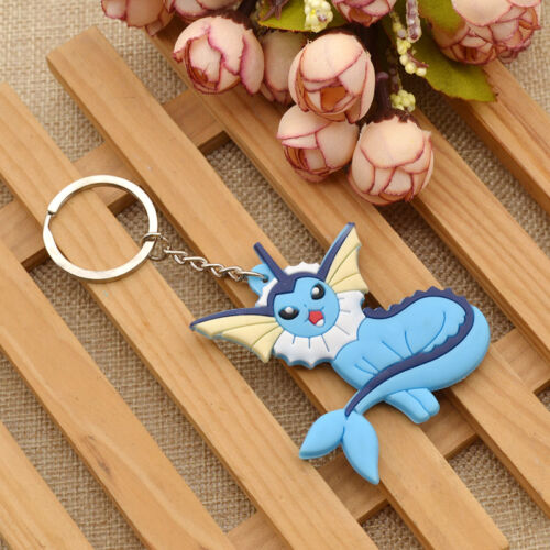 Anime  Pikachu Eevee Family Keychain Cute Silicone Glaceon Espeon Key Ring Gift
