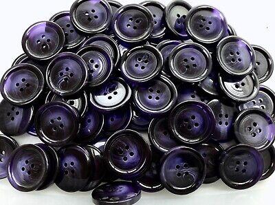 Large 25mm 40L Deep Purple Plum 4 Hole Coat Jacket Satin Button Buttons K153 X