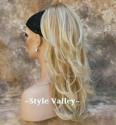 Blonde Mix Ponytail Extension Hair piece Long Straight/Wavy Clip in Hairpiece 96