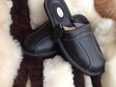 NUEVO Cuero Negro de hombre slipppers Zapatos Sin Talón Chanclas Sandalias 7 8 9