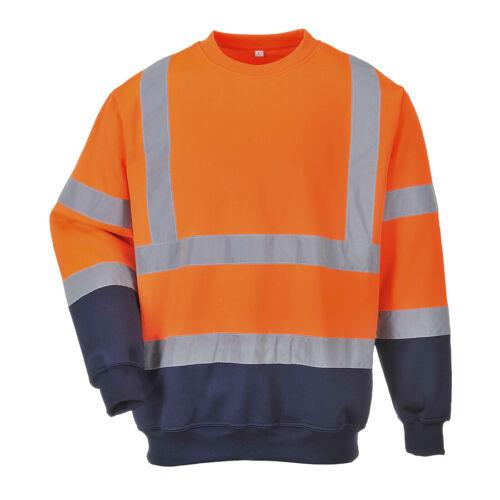 B306 2-farbiges Warnschutz-Sweatshirt Pullover Extrem Weich Langlebig UV Strahle