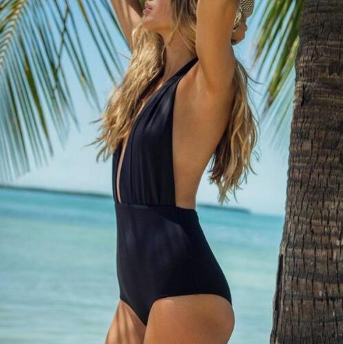 moda mare costume intero monokini donna elegante nero scollato elegante  5342