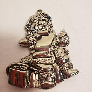 Vintage-Gorham-Silver-Plate-Christmas-Ornament-Santa