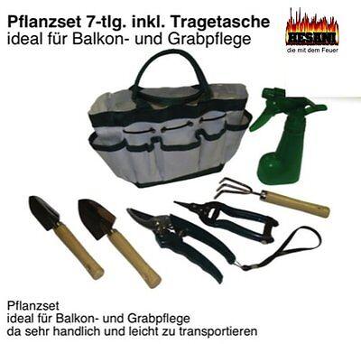 Pflanzset und Grabpflege Tragetasche ideal fuer Balkon Geräteset 7-tlg inkl