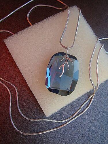 Lange cadena de plata con funkelstein cristal en azul