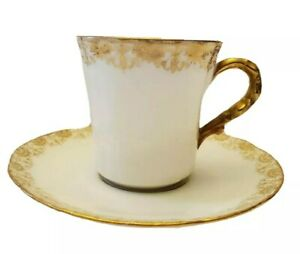 ANTIQUE LIMOGES FRANCE LEWIS STRAUS & SONS GOLD LACE DEMITASSE CUP & SAUCER 1890