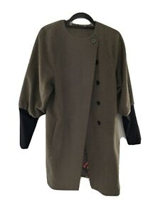 Paul Smith x Black Label Brown Wool Coat With Balloon Sleeves Womens Size 42