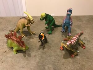 Details about Dinosaur Figures Large Lot of 6 Assorted Names Hard Plastic