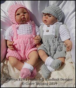 BABYDOLL-HANDKNIT-DESIGNS-KNITTING-PATTERN-E29-SHORTS-SET-16-22-034-DOLL-0-3M-BABY