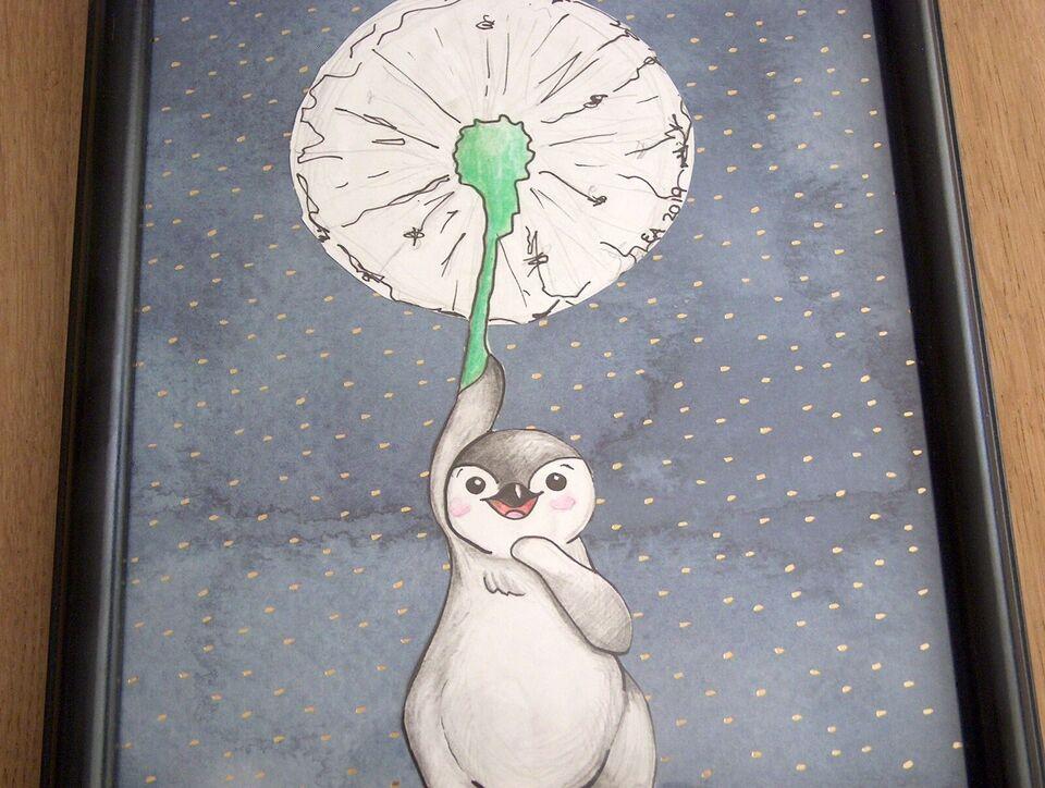 Vægdekoration, tegning i ramme, ræv med ballon