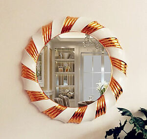 Gold Cream Wall Mirror Modern Large 83cm Round Bedroom