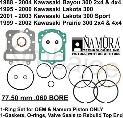 Namura .020 Over Piston /& Gasket Kit Kawasaki Bayou Prairie Lakota 300 76.50mm
