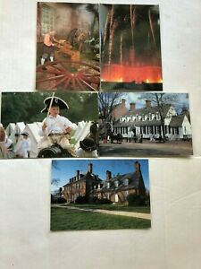 Vintage-Colonial-Willamsburg-Post-Cards-1990-039-s-Set-of-5-The-Capitol-WheelWright