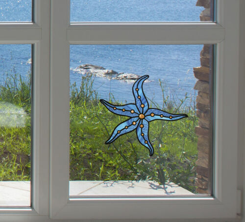 """CLR:WND Stained Glass Style Vinyl Window Decal ©YYDC 5/""""w x 4.75/""""h Starfish"""