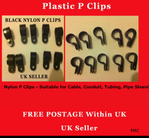 "19mm 3//4/""  10 PCS Black Nylon P Clips Suitable for Cable Wiring Pipe Hose Tubing"