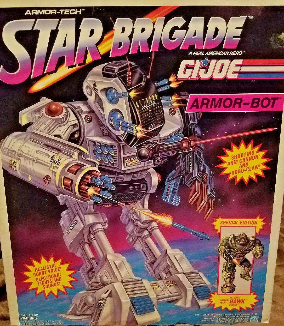 GI Joe Star Brigade ARMOR-BOT & Armor-Tech Hawk Figure 1993 Factory Sealed MISB