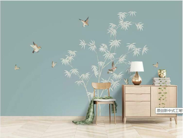 3D Bambus Vogel M1719 Tapete Wandbild Selbstklebend Abnehmbare Aufkleber Amy