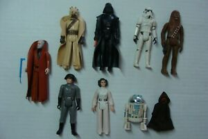 Star-Wars-9-Action-Figures-LOT-Vintage-WEAPONS-Kenner-1977-12-back-set-afa