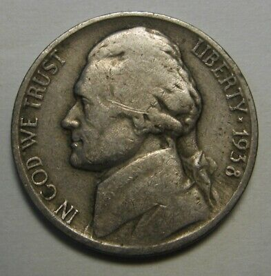 FREE SHIPPING! CIRCULATED 1938 Jefferson Nickel