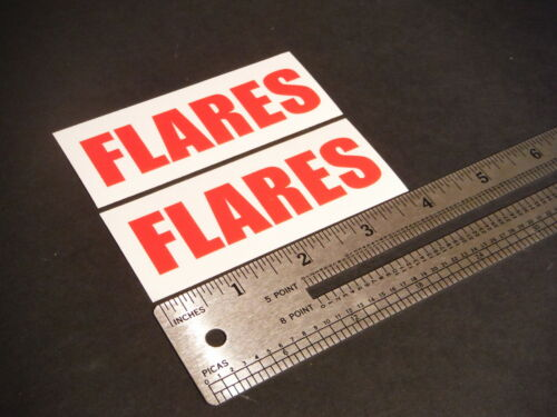 """Flares Decal Red Marine Boat Safety 3.5/"""" Stickers Pair"""